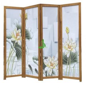 Bình phong gỗ hoa sen vải kín G16