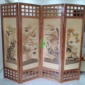 Bình phong khung gỗ tranh tứ quý