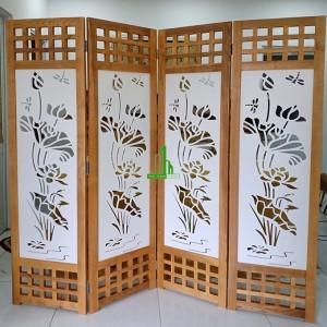 Bình phong khung gỗ cnc cây sen lớn