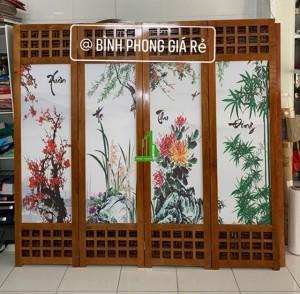 Bình phong gỗ tranh vải lụa tứ quý