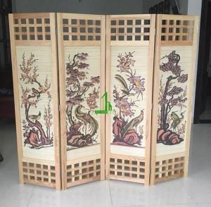 Bình phong gỗ tứ quý tranh tre G13