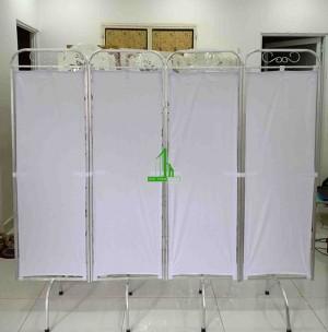 Bình phong khung nhôm y tế màu trắng