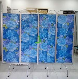Bình phong khung nhôm vải hoa xanh dương